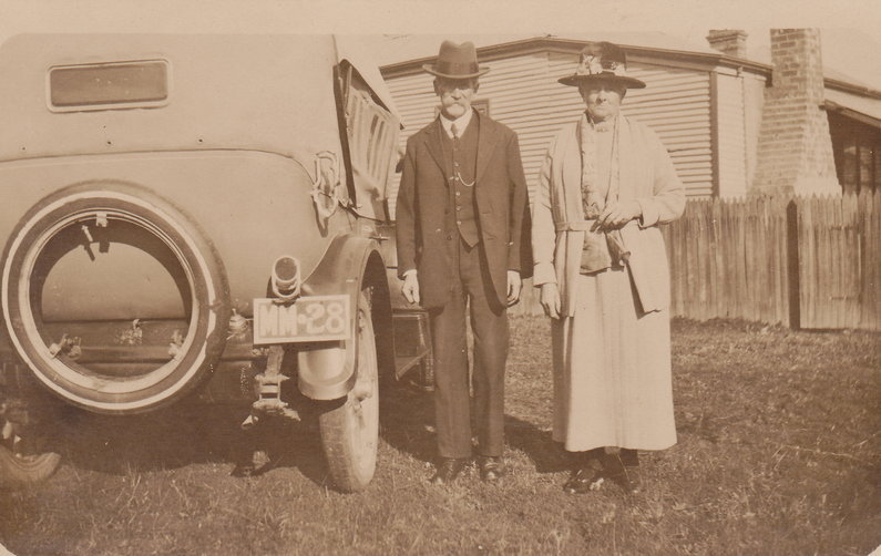 Mr and Mrs Steve Cook senior with their motor vehicle number plate MM28